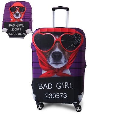 Varicolored Suitcase Protective Cover - Bad Dog / S