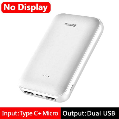 10000mAh Power Bank - NO LED White