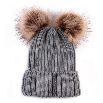 Super Soft Knitted Beanie - Gray 2 Poms