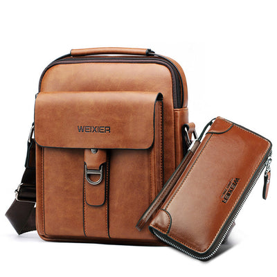 Casual Men Shoulder Bags - Light Brown with Wallet