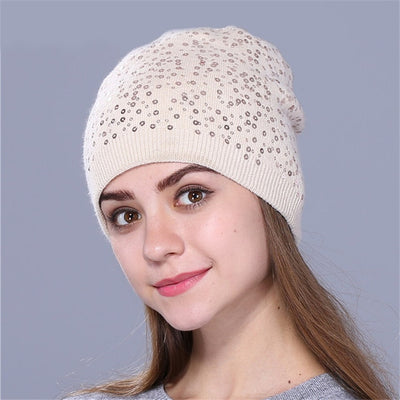 Knitted Hat for Women - Beige