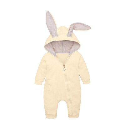 Bunny Rompers For Baby - Beige / 3M