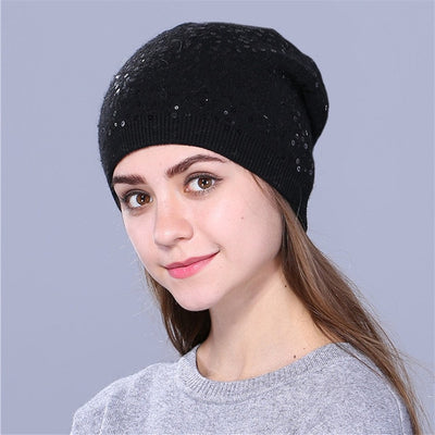 Knitted Hat for Women - Black