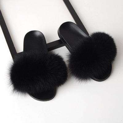 Fur Slippers for Women - Black / 6