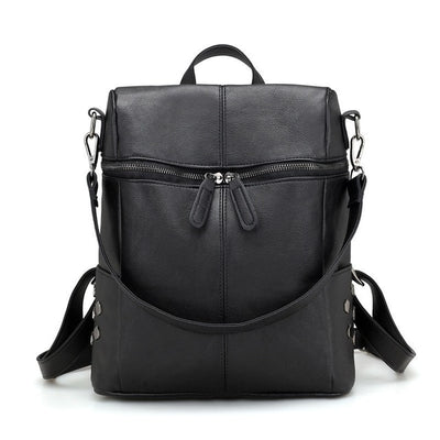 Women's Leather Backpack - Black