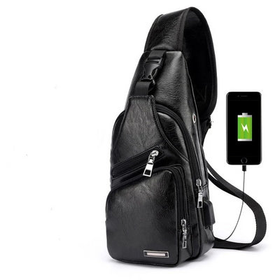 Men's USB Chest Bag - Black / 16x34x10cm