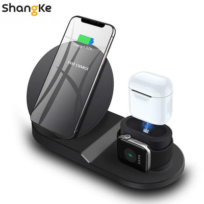 3 in 1 Wireless Charging Station - Black