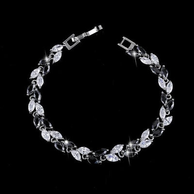 Cubic Zirconia Leaves Bracelet - Black