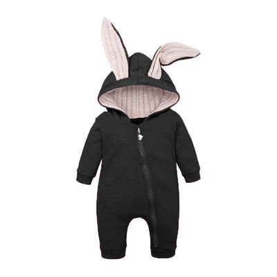 Bunny Rompers For Baby - Black / 3M