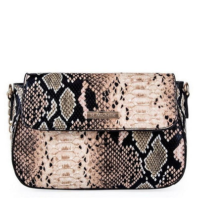 Snake PU Leather Shoulder Bag - Brown / 25x10x15cm
