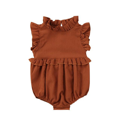 Newborn Baby Girls Sleeveless Romper - Brown / 6M