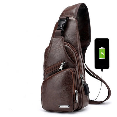 Men's USB Chest Bag - Brown / 16x34x10cm