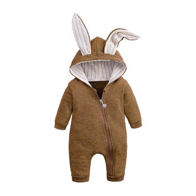 Bunny Rompers For Baby - Brown / 3M
