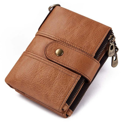 Genuine Leather RFID Wallet - Brown / China
