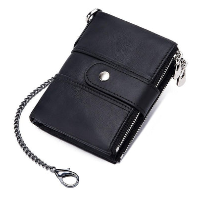Genuine Leather RFID Wallet - Chain / China