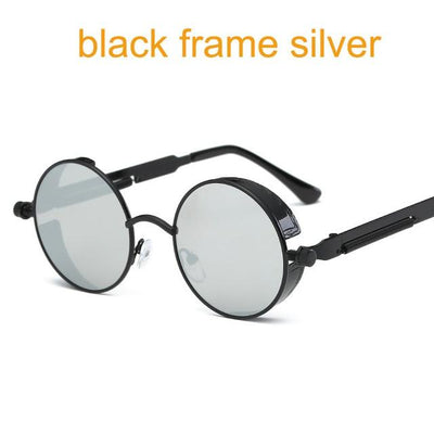 Round Steampunk Sunglasses - black f silver