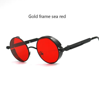 Round Steampunk Sunglasses - black red