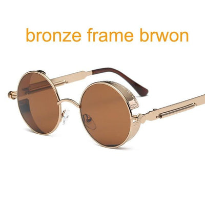 Round Steampunk Sunglasses - bronze f brown