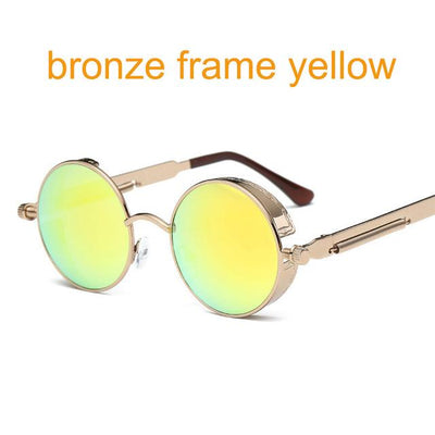 Round Steampunk Sunglasses - bronze f yellow