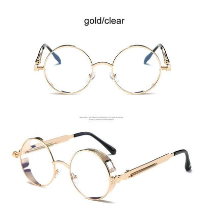 Round Steampunk Sunglasses - gold clear