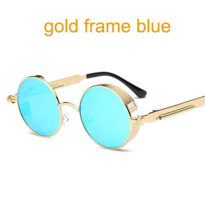 Round Steampunk Sunglasses - gold f blue
