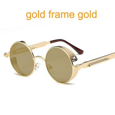 Round Steampunk Sunglasses - gold f gold