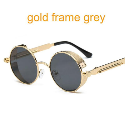Round Steampunk Sunglasses - gold f grey