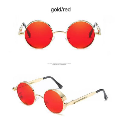 Round Steampunk Sunglasses - gold red