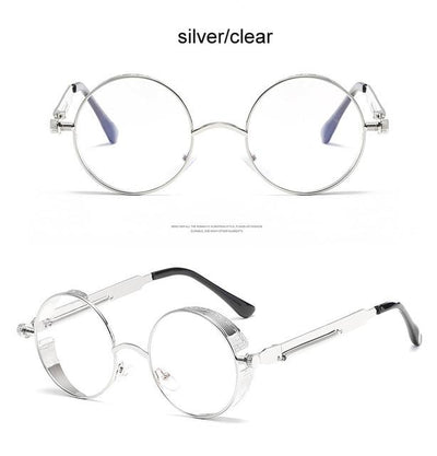 Round Steampunk Sunglasses - silver clear