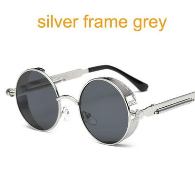 Round Steampunk Sunglasses - silver f grey