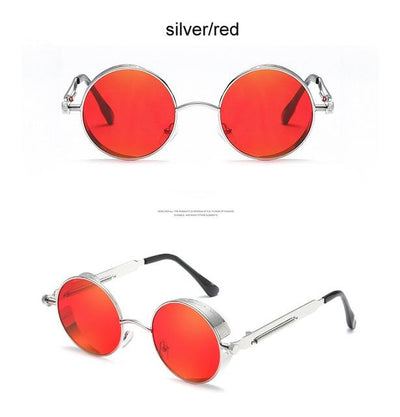 Round Steampunk Sunglasses - silver red