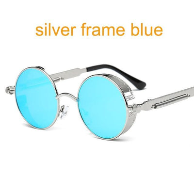 Round Steampunk Sunglasses - sliver f blue