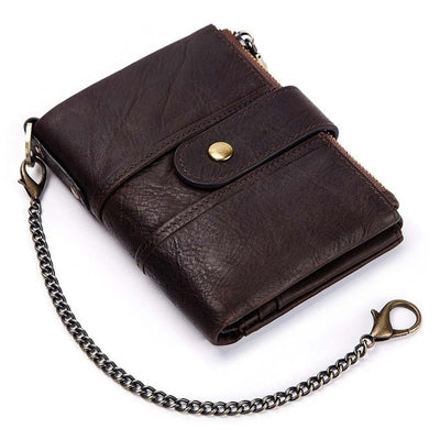Genuine Leather RFID Wallet - with Chain / China