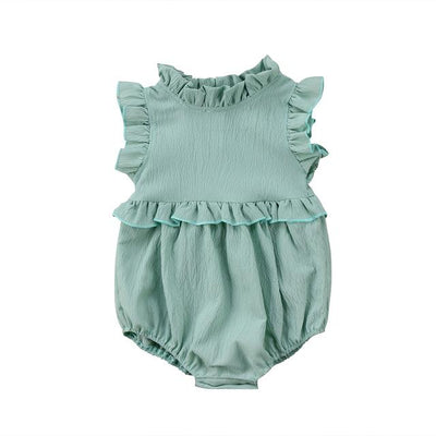 Newborn Baby Girls Sleeveless Romper - Green / 6M