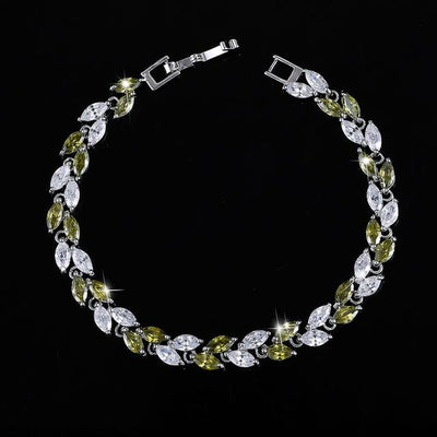 Cubic Zirconia Leaves Bracelet - Green
