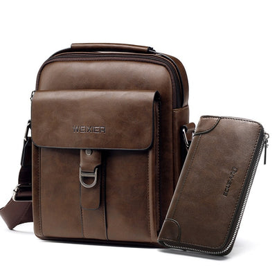 Casual Men Shoulder Bags - Coffee Brown with Wallet