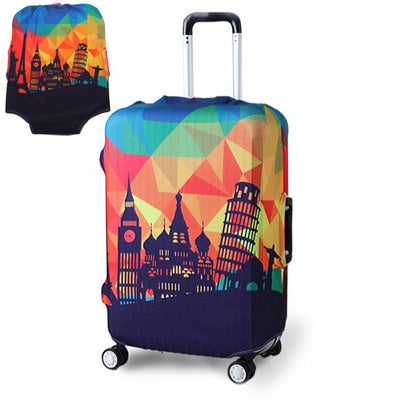 Varicolored Suitcase Protective Cover - Wonders / S