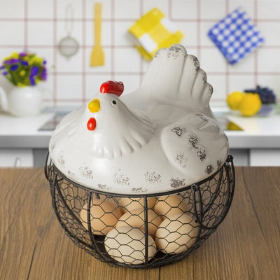 Ceramic Egg Holder - Black Tailed Cock