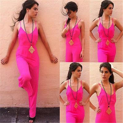 Casual Sleeveless Jumpsuit - Red / S