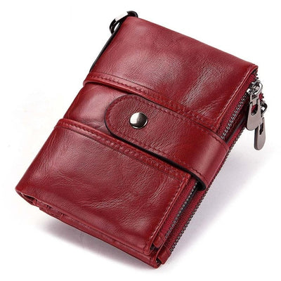 Genuine Leather RFID Wallet - Red / China
