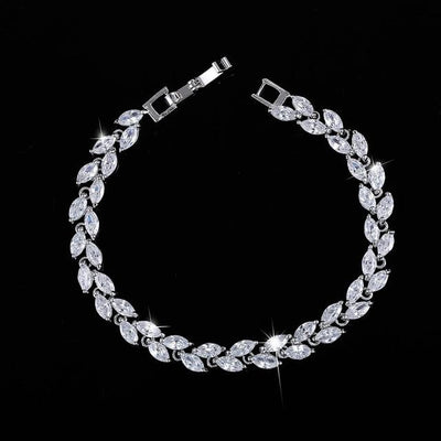 Cubic Zirconia Leaves Bracelet - White