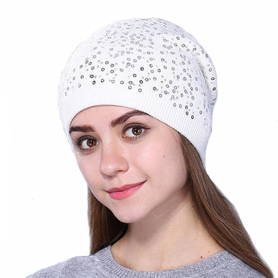 Knitted Hat for Women - White