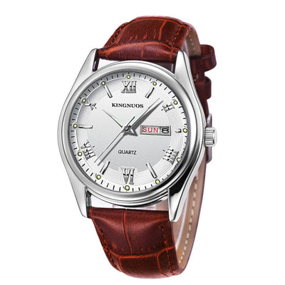 Mens Watches - Brown Leather white