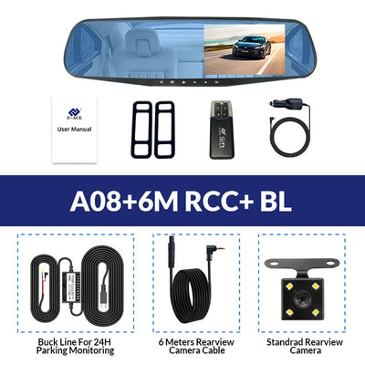 Car Rear View Mirror With Camera - A08-6M RCC-BL / With 8G TF Card