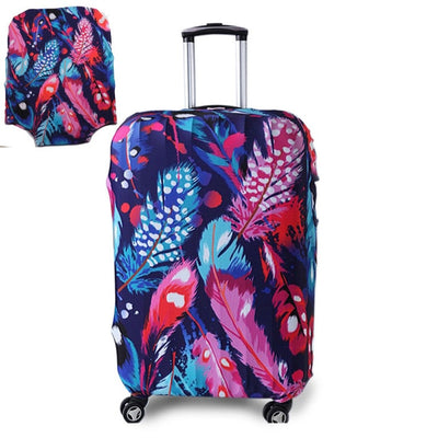 Varicolored Suitcase Protective Cover - Feather / S