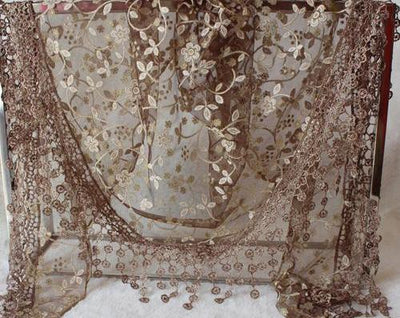 Tassel Floral Lace Scarf - Brown