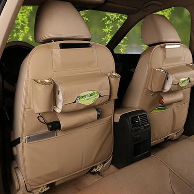 S1P Faux Leather Car Back Seat Organizer - beige
