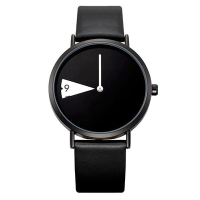 Leather Band Wristwatches - black