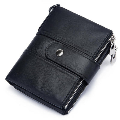 Genuine Leather RFID Wallet - black / China