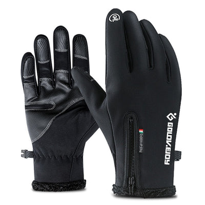 Waterproof Winter Leather Gloves - Black Gloves / S Palm Width 6-6.5CM